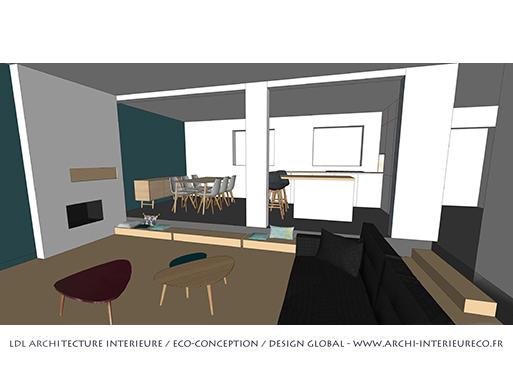 Maison Orvault Cens séjour 3D